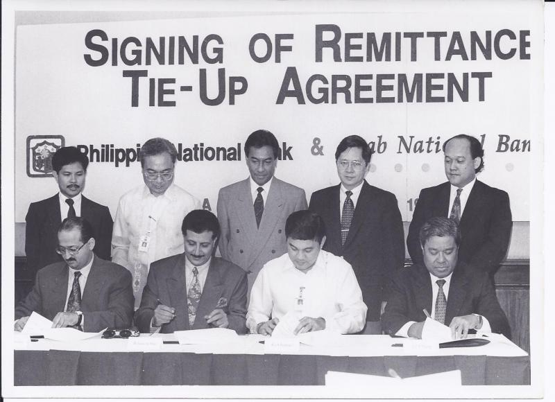 CEO sign up remittance agreement with PNB on behalf of ANB in Manila 1993